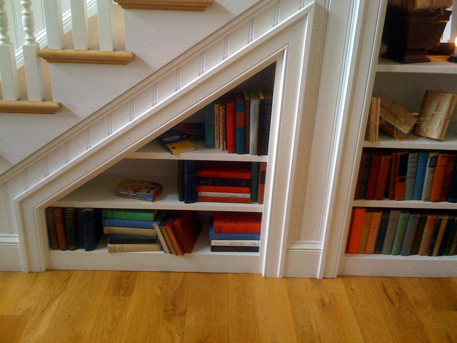 Bookcase under the stairs Source Under Stairs Bookcase Home Design